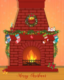 Christmas card with a decorated fireplace. Happy New Year Stock Images