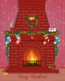 Christmas card with a decorated fireplace. Happy New Year Royalty Free Stock Photos