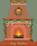 Christmas card with a decorated fireplace. Happy New Year Royalty Free Stock Images