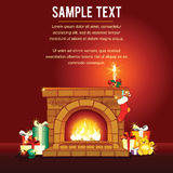 Christmas card with Decorated Fireplace. Vector. Background Stock Photos