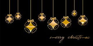 Christmas card decorated with silver ball, and with golden `Merry Christmas` congratulations, on black background. English languag. E 1 Royalty Free Stock Photography