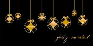 Christmas card decorated with silver ball, and golden `Merry Christmas` congratulations, on black background. Spanish language. Christmas card decorated with Royalty Free Stock Photos