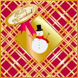 Christmas card decorated with snow puppet golden and purple. Merry Christmas Royalty Free Stock Image
