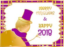 Christmas card decorated with snow puppet golden and purple. Merry Christmas and Happy New Year. 1 Stock Image