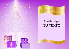 Christmas card decorated with Xmas tree, balls and gift boxes purple esp1a. Christmas card decorated with Xmas tree, balls and gift boxes purple esp1 Vector Illustration