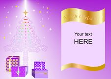 Christmas card decorated with Xmas tree, balls and gift boxes purple ing1a. Christmas card decorated with Xmas tree, balls and gift boxes purple ing1 Royalty Free Illustration