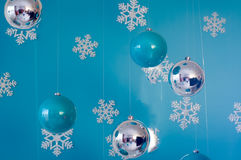 Christmas card with  decoration. Christmas card with christmas decoration on blue background Royalty Free Stock Image