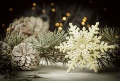 Christmas card decoration with fir branches and decoration elements , selective focus. Christmas card decoration with fir branches, tangerines, pine cones, and Royalty Free Stock Photography