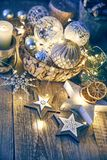 Christmas card with decoration glass balls garland. On old wooden board in rustic style copyspace Royalty Free Stock Images