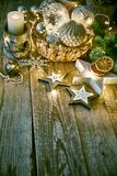 Christmas card with decoration glass balls garland. On old wooden board in rustic style copyspace Royalty Free Stock Photography