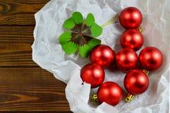 Christmas card with Christmas decoration. And lucky clower Stock Photos