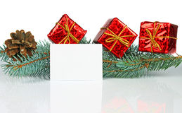 Christmas card and decoration. On white background Stock Photography