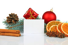 Christmas card and decoration. On white background Royalty Free Stock Photos