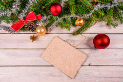Christmas card decoration on wood. Christmas decoration on wooden planks Royalty Free Stock Photo