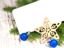 Christmas card with decorations Stock Images