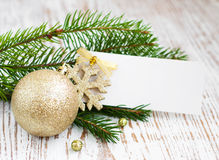 Christmas card with decorations Stock Photos