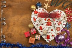 Christmas card. Decorations for the presents. Preparing for Christmas Eve Royalty Free Stock Photos