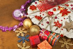 Christmas card. Decorations for the presents. Preparing for Christmas Eve Stock Photography