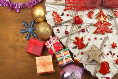 Christmas card. Decorations for the presents. Preparing for Christmas Eve Stock Images