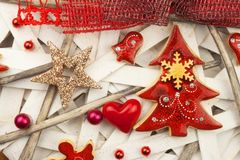 Christmas card. Decorations for the presents. Preparing for Christmas Eve Royalty Free Stock Photo