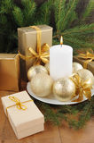 Christmas Card with decorations - white candle, xmas tree and color balls. stock images