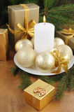 Christmas Card with decorations - white candle, xmas tree and color balls. stock image