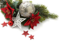Christmas card decorations on white Royalty Free Stock Images