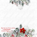 Christmas card with decorations on a white textured background w Royalty Free Stock Photo
