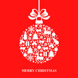 Christmas card with decorative ball Royalty Free Stock Photo