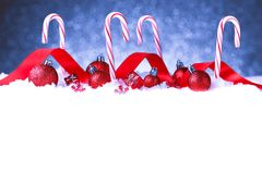 Christmas card with decorative baubles Stock Photography
