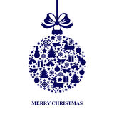 Christmas card with decorative blue ball Stock Photo