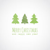 Christmas card with decorative christmas trees Stock Photography