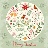 Christmas card with decorative elements Royalty Free Stock Image
