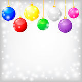 Christmas card with decorative multicolor balls Stock Images