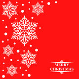Christmas card with decorative snowflakes on red background Royalty Free Stock Images