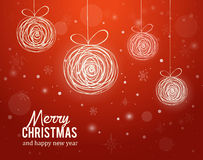 Christmas card with decorrations and greetings Stock Photos