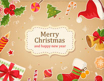 Christmas card with decorrations and greetings Royalty Free Stock Photos