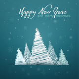 Christmas card with decorrations and greetings Stock Photo