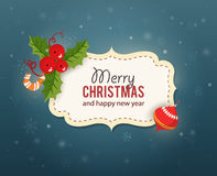 Christmas card with decorrations and greetings Royalty Free Stock Photography