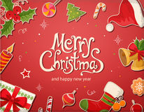Christmas card with decorrations and greetings Stock Photography