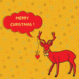 Christmas card with deer royalty free illustration