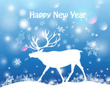 Christmas card with a deer Royalty Free Stock Photography