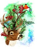 Christmas card with a deer and a bullfinch. royalty free stock photo
