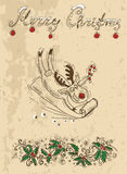 Christmas card with deer and cane Stock Images