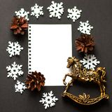 Christmas card deer, flatley, christmas balls, christmas tree Royalty Free Stock Photo