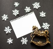 Christmas card deer, flatley, christmas balls, christmas tree Royalty Free Stock Images
