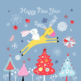 Christmas card with a deer and hare Stock Image