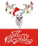 Christmas card with deer Stock Photos