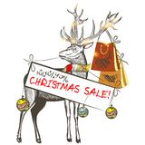 Christmas card with deer holding banner Christmas sale Stock Photos