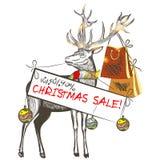 Christmas card with deer holding banner Christmas sale Stock Photos